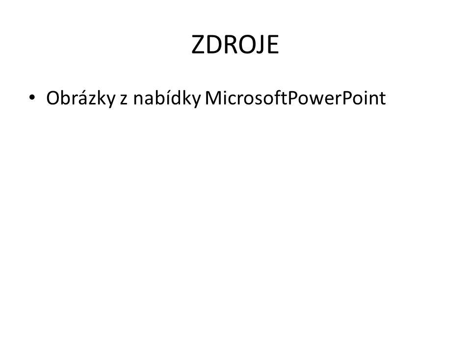 ZDROJE Obrázky z nabídky MicrosoftPowerPoint