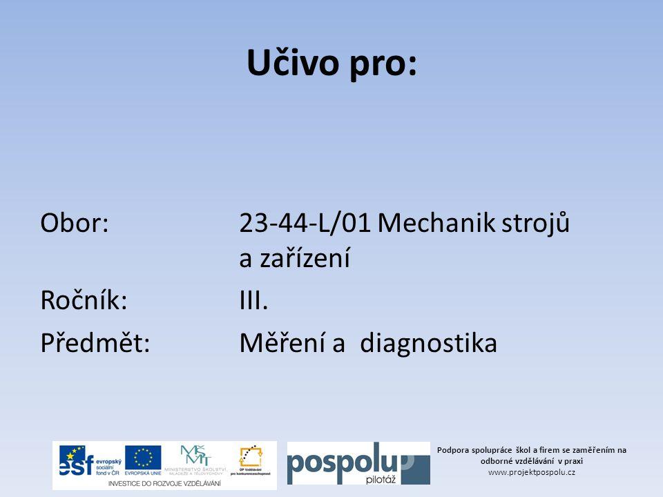 Učivo pro: Obor: 23-44-L/01 Mechanik strojů a zařízení Ročník: III. Předmět: Měření a diagnostika