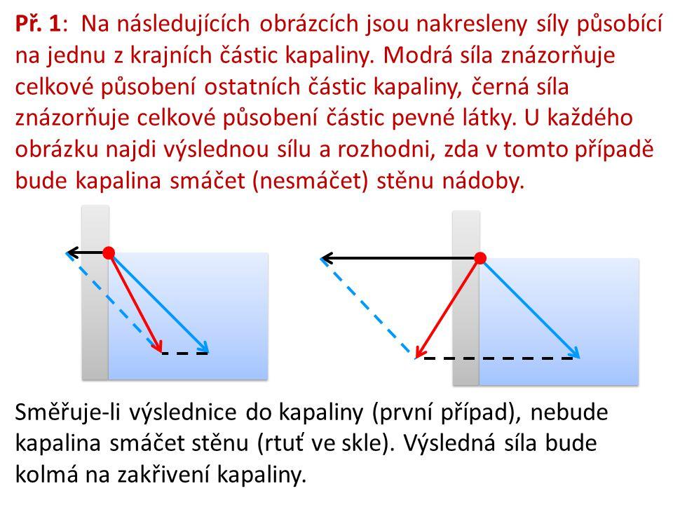 Př. 1: Na následujících obrázcích jsou nakresleny síly působící na jednu z krajních částic kapaliny. Modrá síla znázorňuje celkové působení ostatních částic kapaliny, černá síla znázorňuje celkové působení částic pevné látky. U každého obrázku najdi výslednou sílu a rozhodni, zda v tomto případě bude kapalina smáčet (nesmáčet) stěnu nádoby.