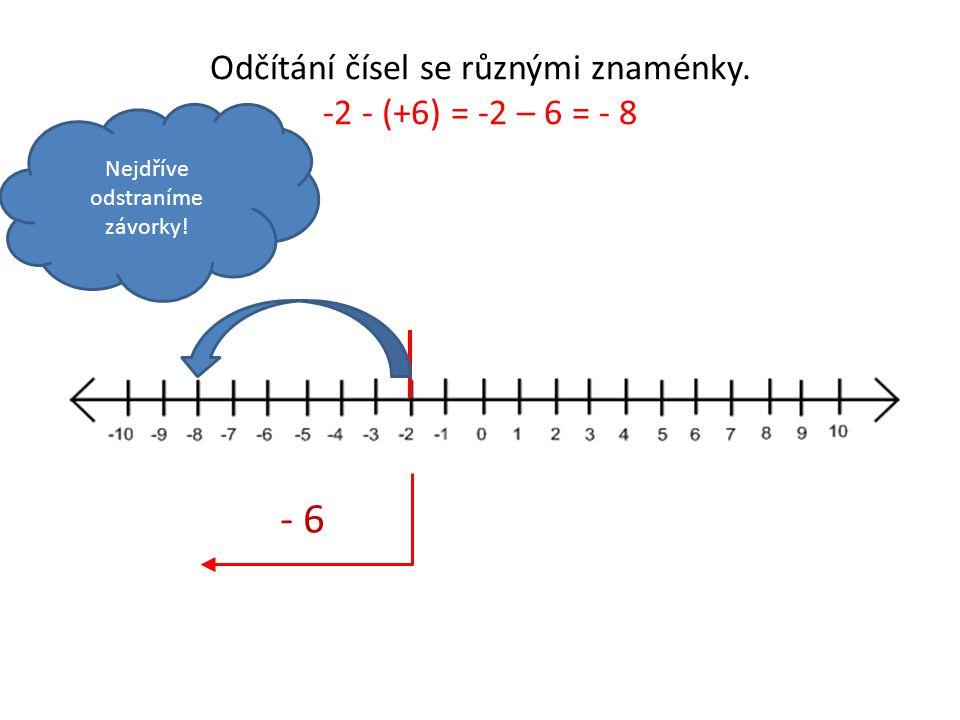 Odčítání čísel se různými znaménky. -2 - (+6) = -2 – 6 = - 8
