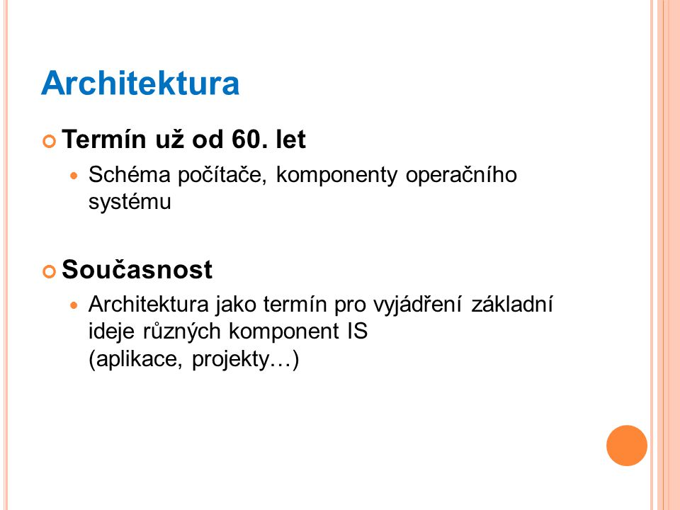 Architektura Termín už od 60. let Současnost