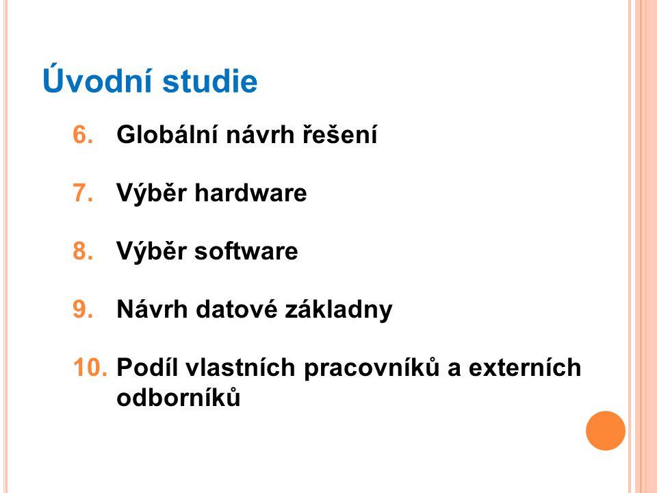 Úvodní studie Globální návrh řešení Výběr hardware Výběr software