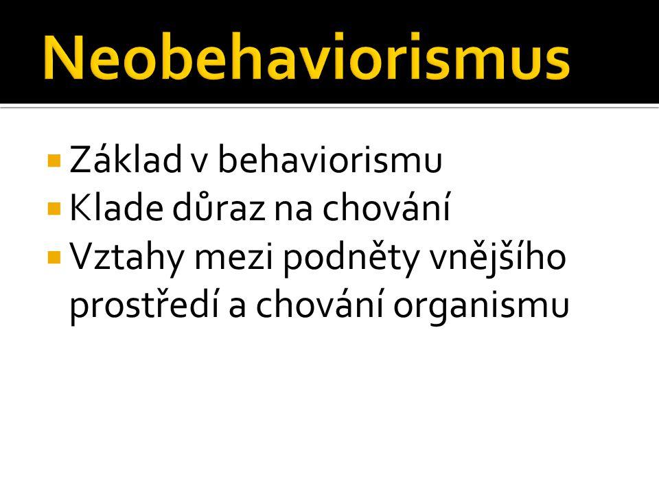 Neobehaviorismus Základ v behaviorismu Klade důraz na chování