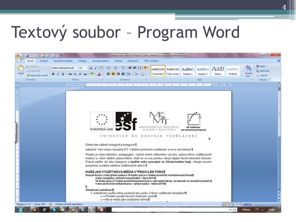 Textový soubor – Program Word