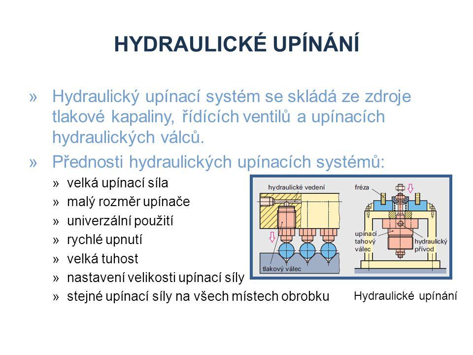Hydraulické upínání Hydraulický upínací systém se skládá ze zdroje tlakové kapaliny, řídících ventilů a upínacích hydraulických válců.