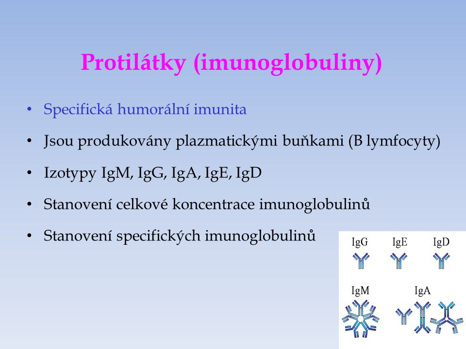 Protilátky (imunoglobuliny)