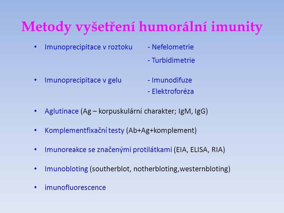 Metody vyšetření humorální imunity