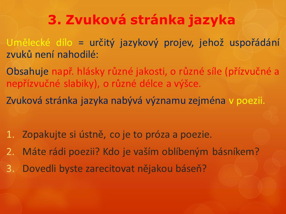 3. Zvuková stránka jazyka