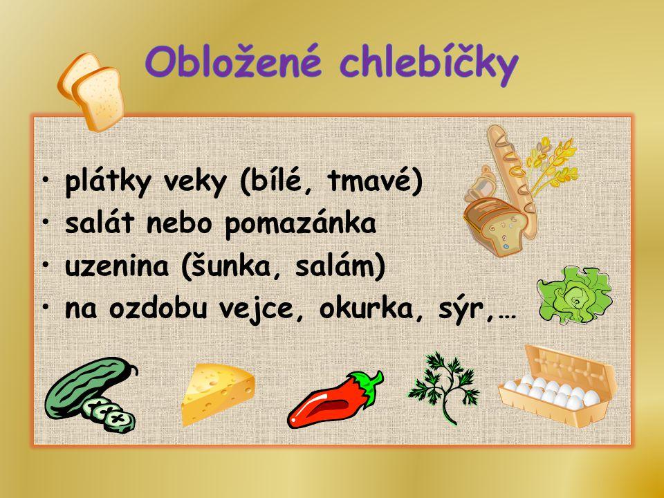 Obložené chlebíčky plátky veky (bílé, tmavé) salát nebo pomazánka