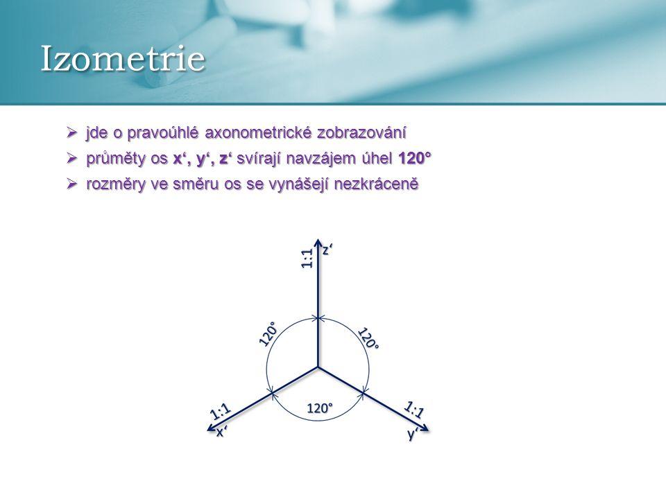 Izometrie jde o pravoúhlé axonometrické zobrazování