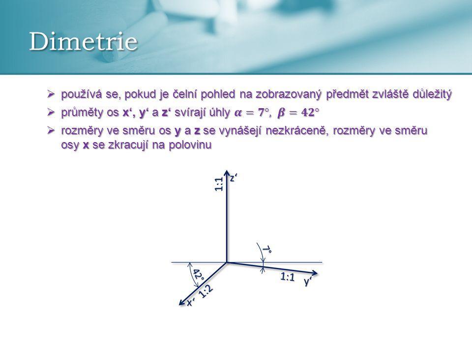Dimetrie používá se, pokud je čelní pohled na zobrazovaný předmět zvláště důležitý. průměty os x', y' a z' svírají úhly 𝜶=𝟕°, 𝜷=𝟒𝟐°