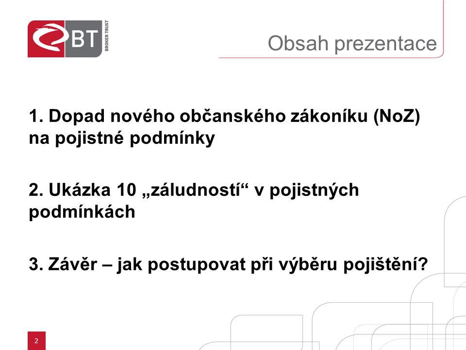 """Obsah prezentace 1. Dopad nového občanského zákoníku (NoZ) na pojistné podmínky. 2. Ukázka 10 """"záludností v pojistných podmínkách."""