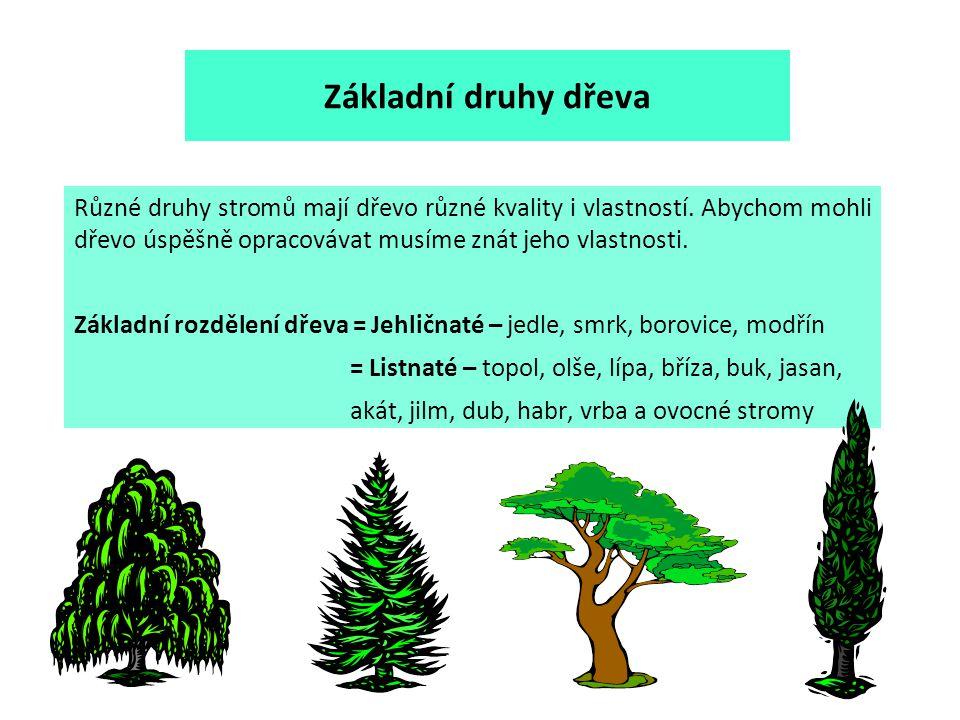 Základní druhy dřeva Různé druhy stromů mají dřevo různé kvality i vlastností. Abychom mohli dřevo úspěšně opracovávat musíme znát jeho vlastnosti.