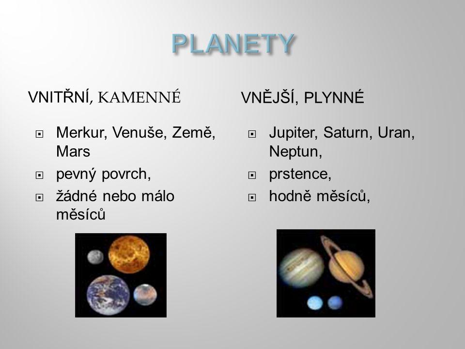 PLANETY VNITŘNÍ, KAMENNÉ VNĚJŠÍ, PLYNNÉ Merkur, Venuše, Země, Mars