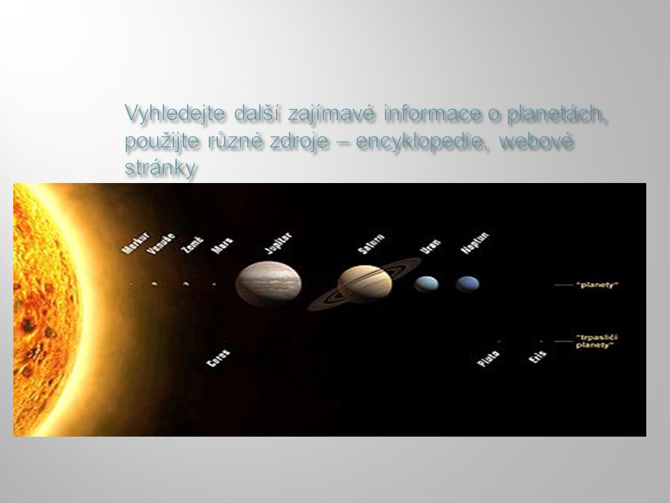 Vyhledejte další zajímavé informace o planetách, použijte různé zdroje – encyklopedie, webové stránky