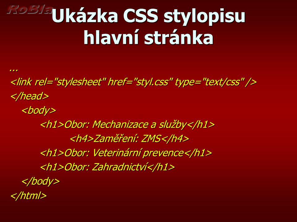 Ukázka CSS stylopisu hlavní stránka