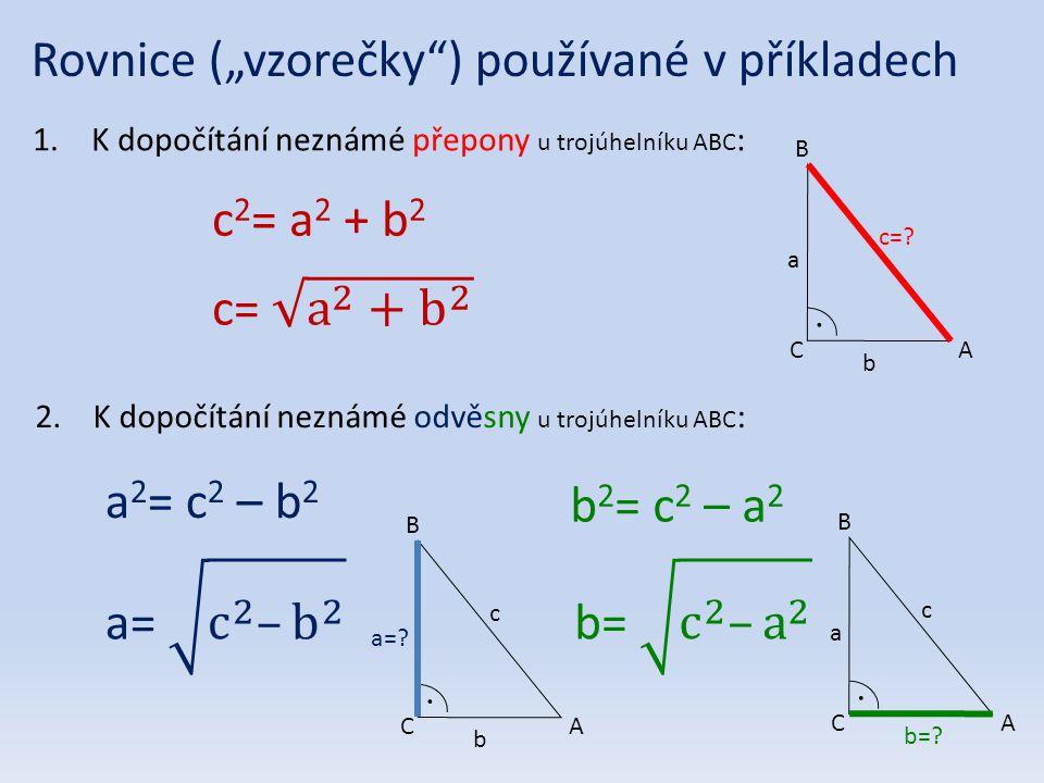 """Rovnice (""""vzorečky ) používané v příkladech"""