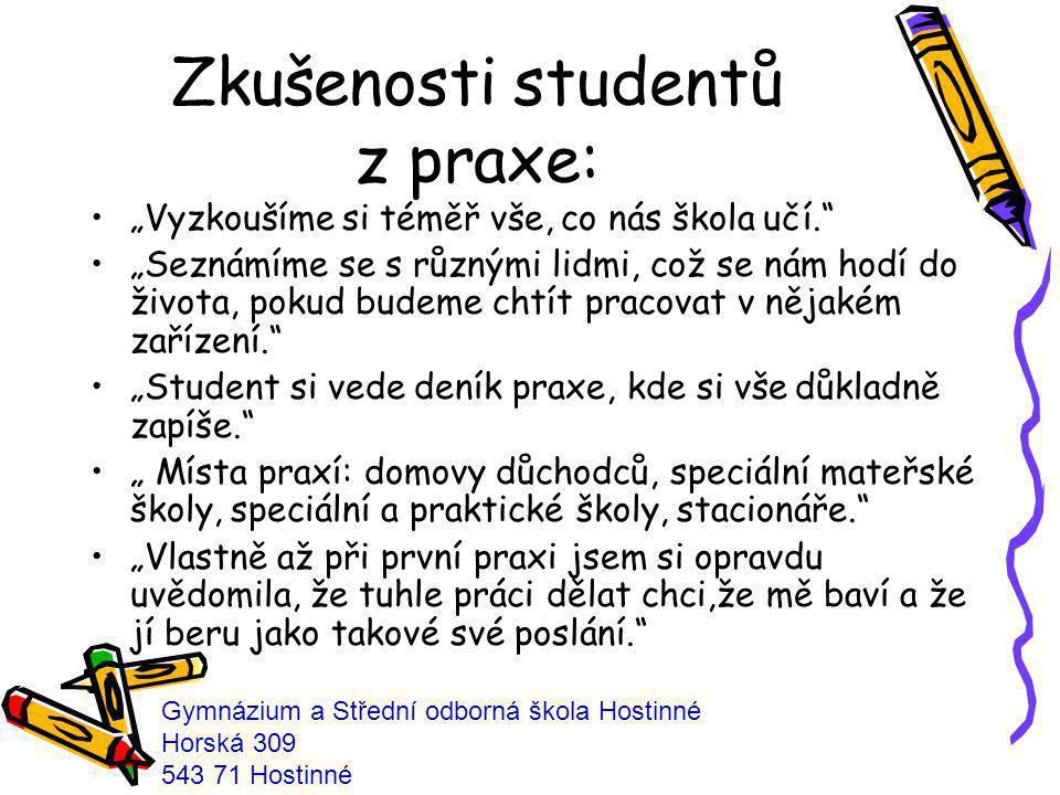 Zkušenosti studentů z praxe: