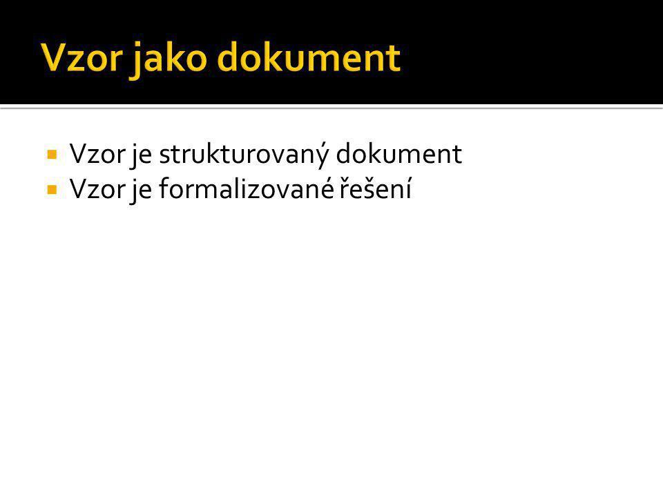 Vzor jako dokument Vzor je strukturovaný dokument