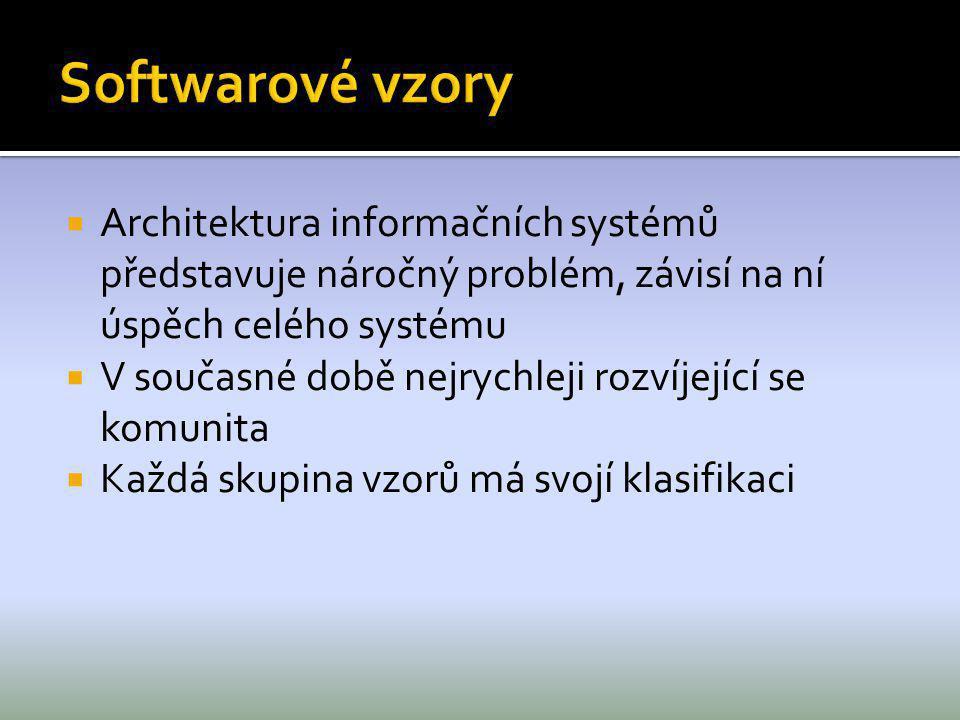 Softwarové vzory Architektura informačních systémů představuje náročný problém, závisí na ní úspěch celého systému.