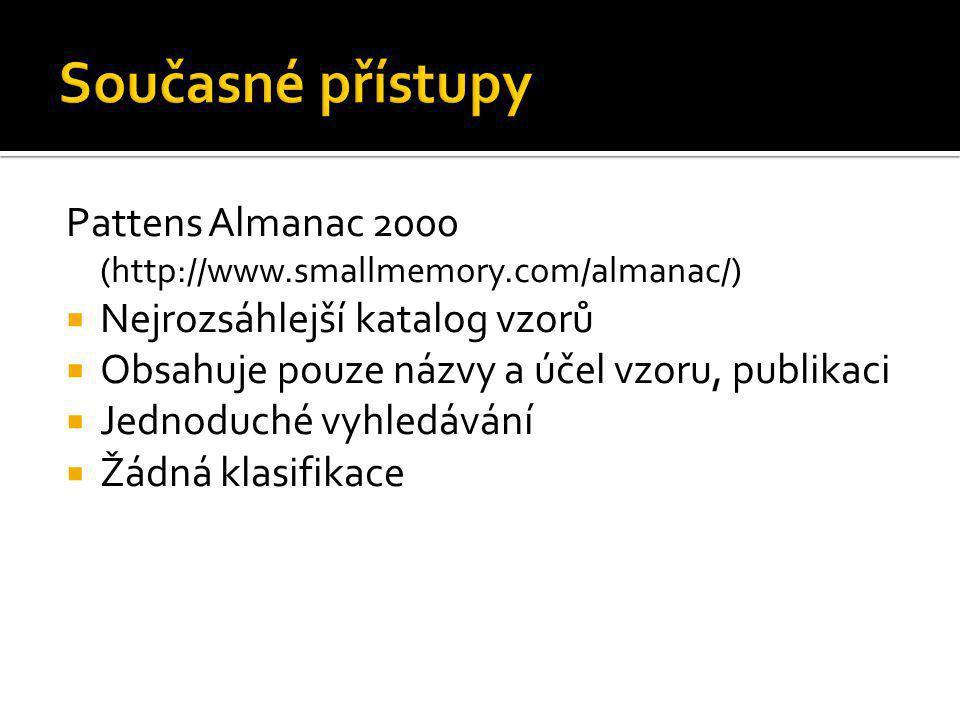Současné přístupy Pattens Almanac 2000 (http://www.smallmemory.com/almanac/) Nejrozsáhlejší katalog vzorů.