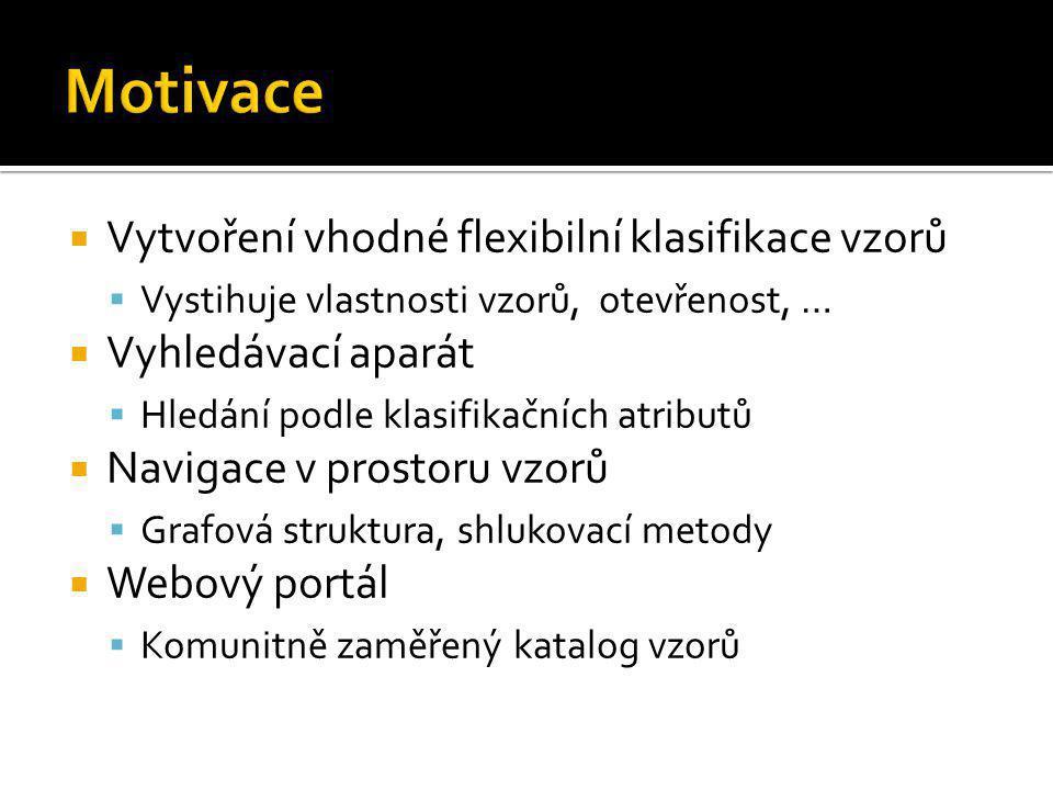 Motivace Vytvoření vhodné flexibilní klasifikace vzorů
