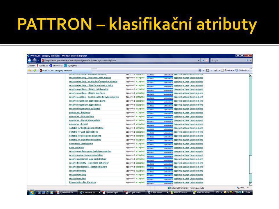 PATTRON – klasifikační atributy