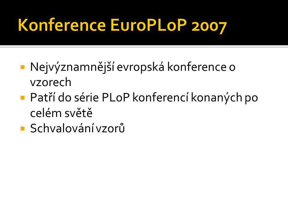 Konference EuroPLoP 2007 Nejvýznamnější evropská konference o vzorech