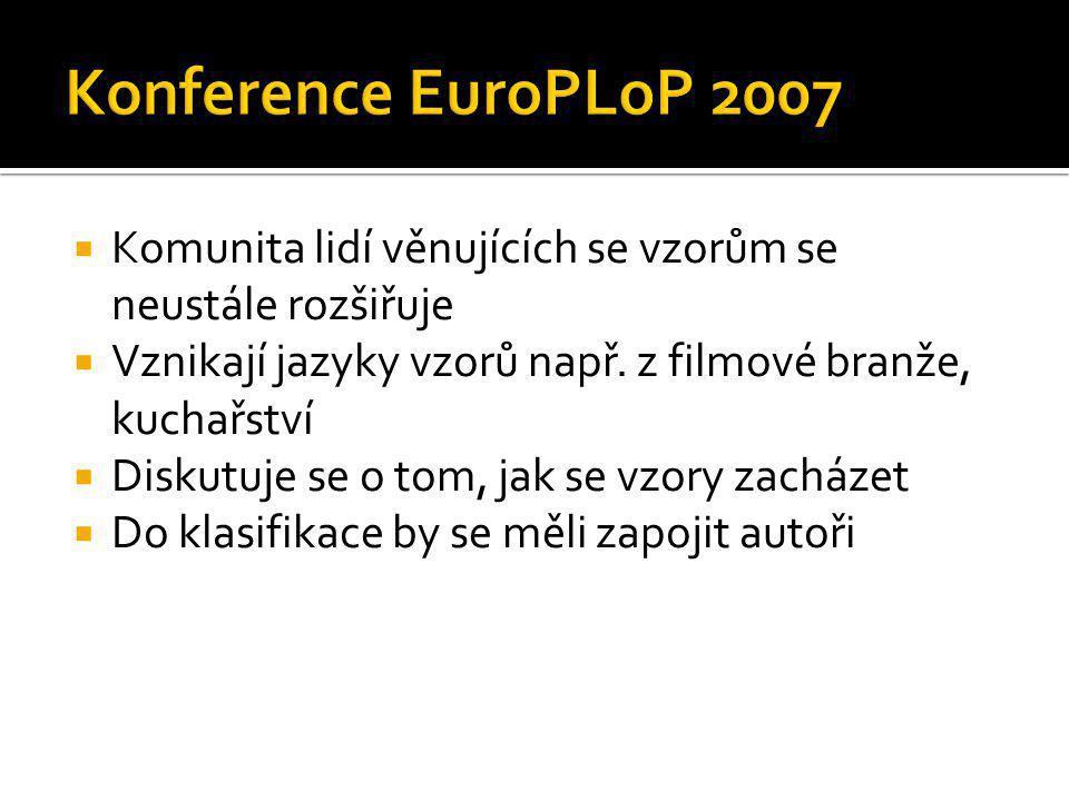 Konference EuroPLoP 2007 Komunita lidí věnujících se vzorům se neustále rozšiřuje. Vznikají jazyky vzorů např. z filmové branže, kuchařství.