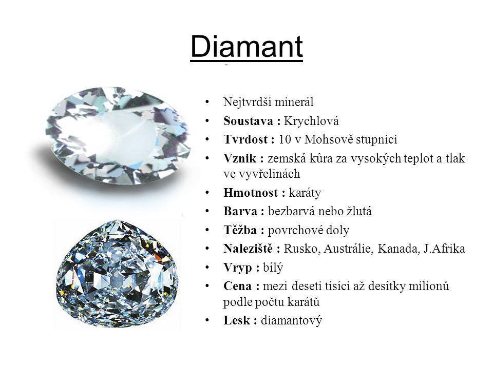 Diamant Nejtvrdší minerál Soustava : Krychlová
