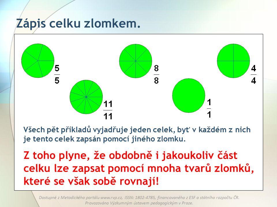 Zápis celku zlomkem. Všech pět příkladů vyjadřuje jeden celek, byť v každém z nich je tento celek zapsán pomocí jiného zlomku.