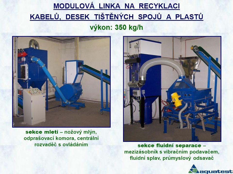 MODULOVÁ LINKA NA RECYKLACI KABELŮ, DESEK TIŠTĚNÝCH SPOJŮ A PLASTŮ výkon: 350 kg/h