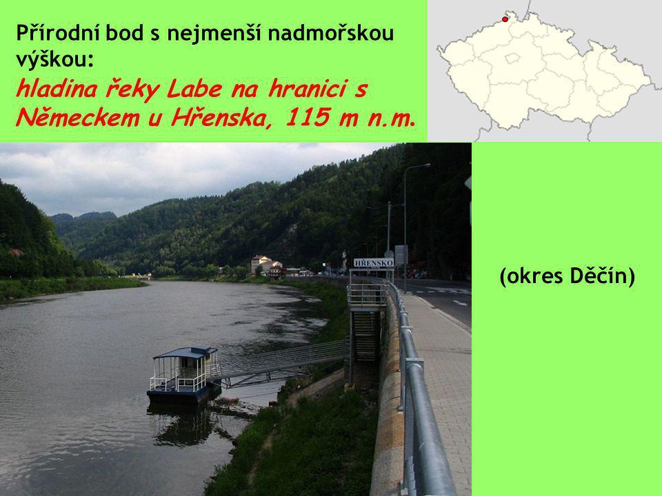 hladina řeky Labe na hranici s Německem u Hřenska, 115 m n.m.