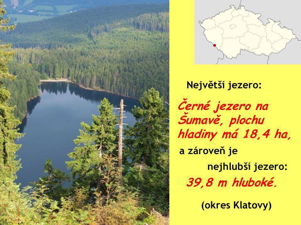 Černé jezero na Šumavě, plochu hladiny má 18,4 ha,