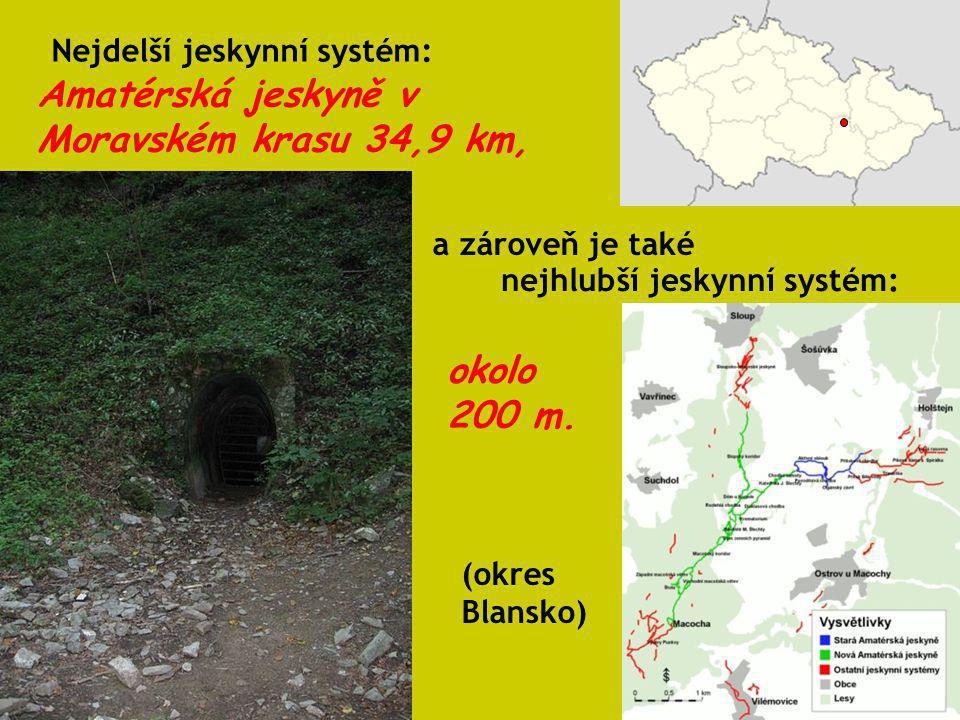 Amatérská jeskyně v Moravském krasu 34,9 km,