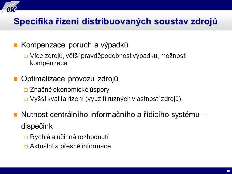 Specifika řízení distribuovaných soustav zdrojů