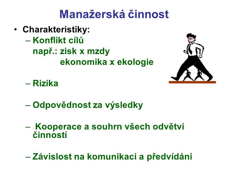 Manažerská činnost Charakteristiky: Konflikt cílů např.: zisk x mzdy