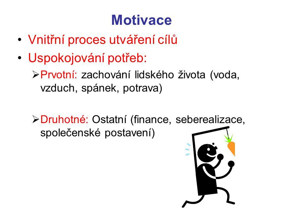 Motivace Vnitřní proces utváření cílů Uspokojování potřeb: