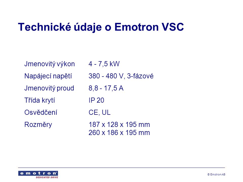 Technické údaje o Emotron VSC