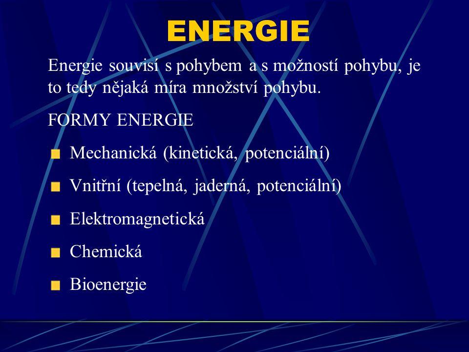 ENERGIE Energie souvisí s pohybem a s možností pohybu, je to tedy nějaká míra množství pohybu. FORMY ENERGIE.
