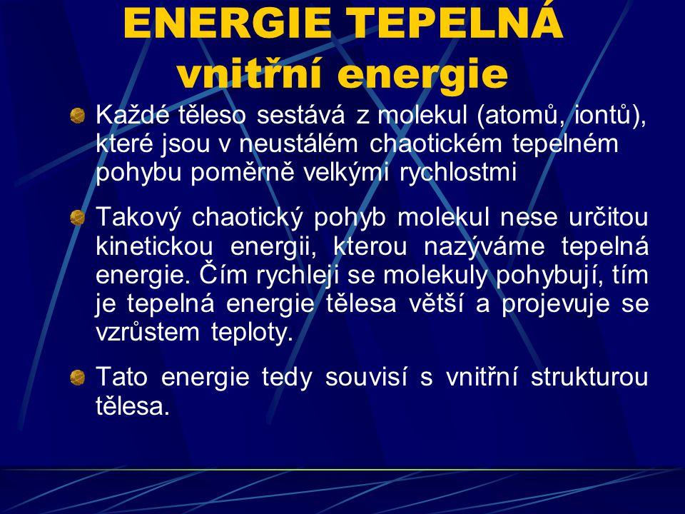 ENERGIE TEPELNÁ vnitřní energie
