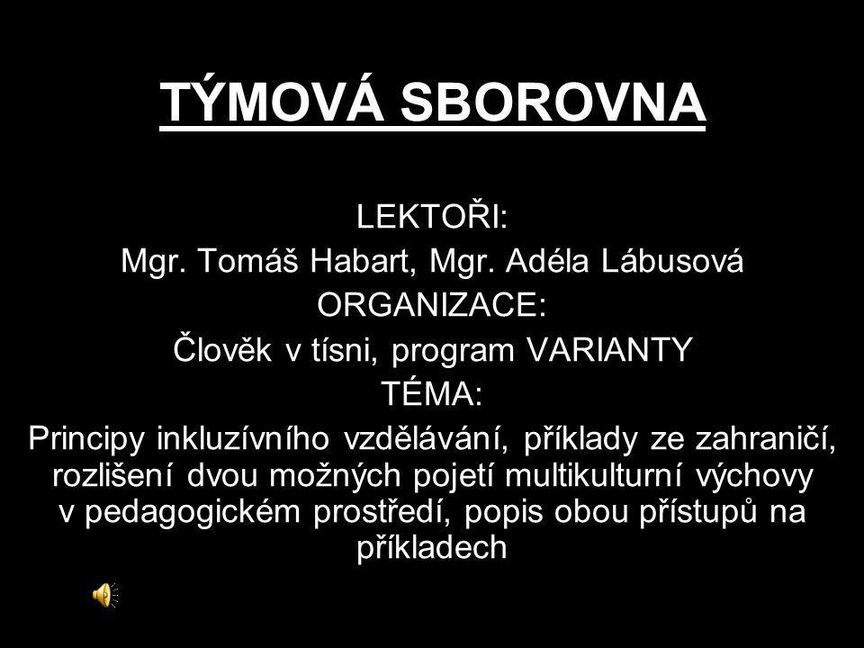 TÝMOVÁ SBOROVNA LEKTOŘI: Mgr. Tomáš Habart, Mgr. Adéla Lábusová