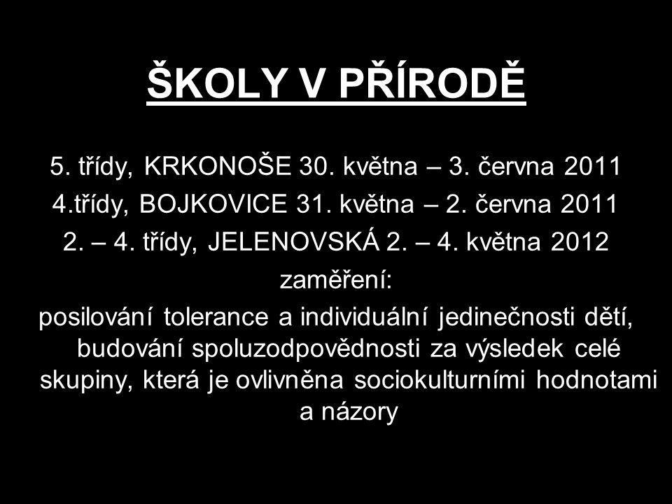 ŠKOLY V PŘÍRODĚ 5. třídy, KRKONOŠE 30. května – 3. června 2011