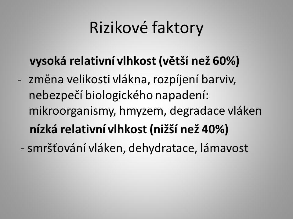 Rizikové faktory vysoká relativní vlhkost (větší než 60%)