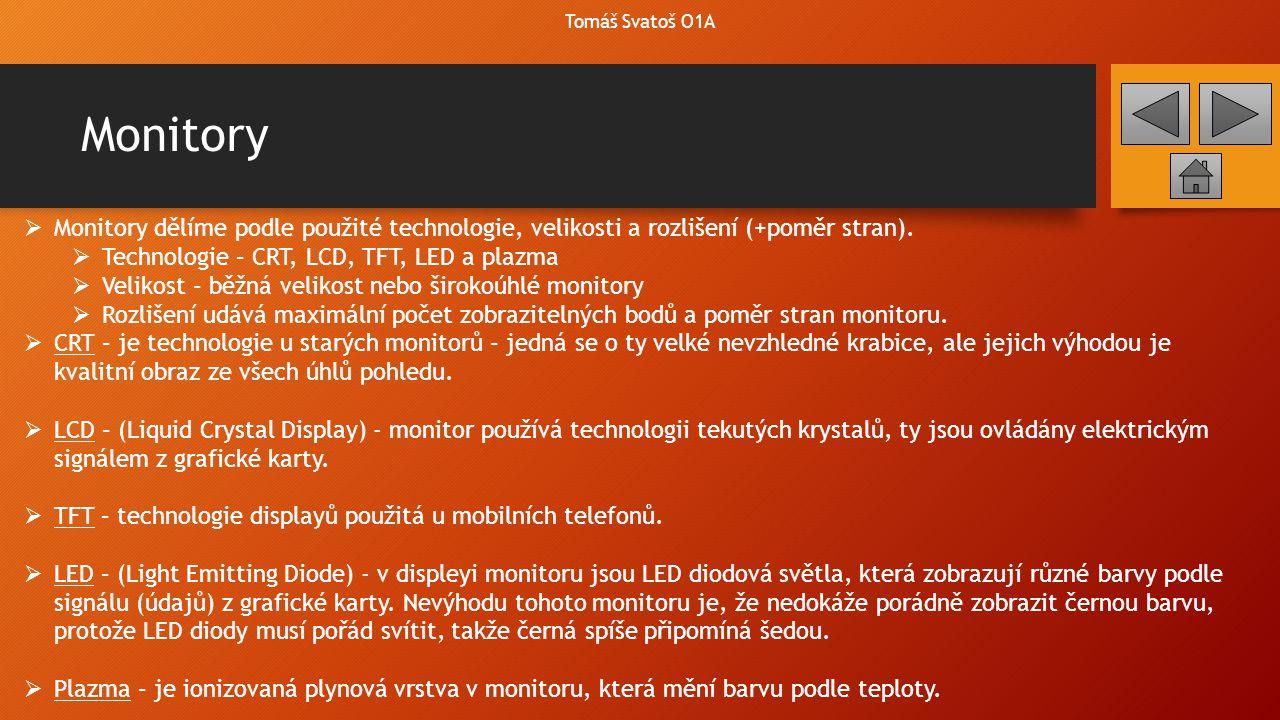 Tomáš Svatoš O1A Monitory. Monitory dělíme podle použité technologie, velikosti a rozlišení (+poměr stran).