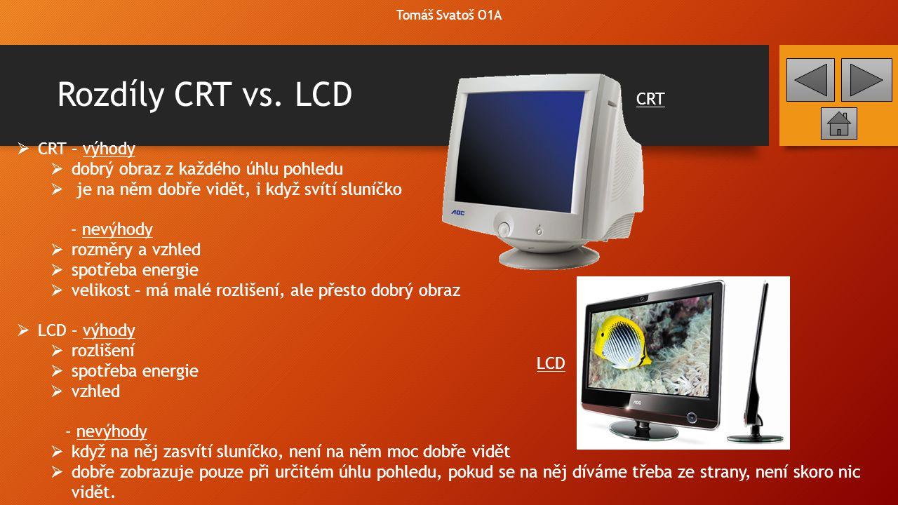 Rozdíly CRT vs. LCD CRT CRT – výhody