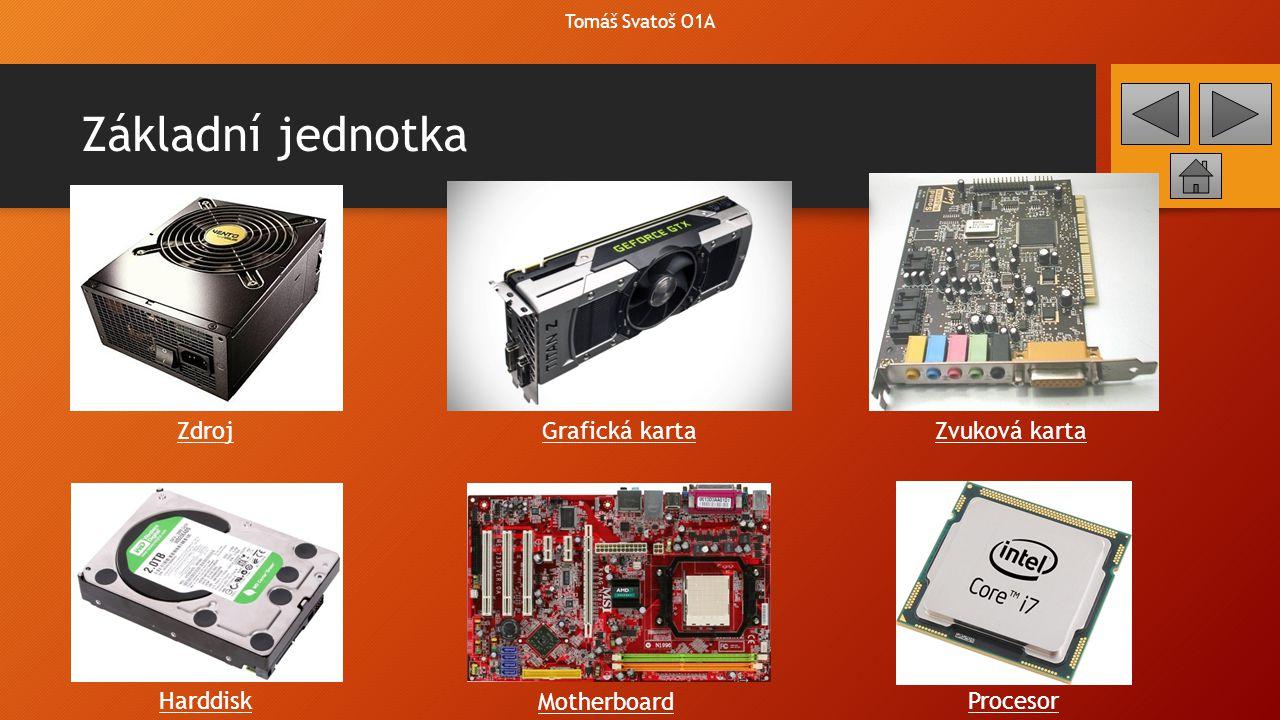 Základní jednotka Zdroj Grafická karta Zvuková karta Harddisk