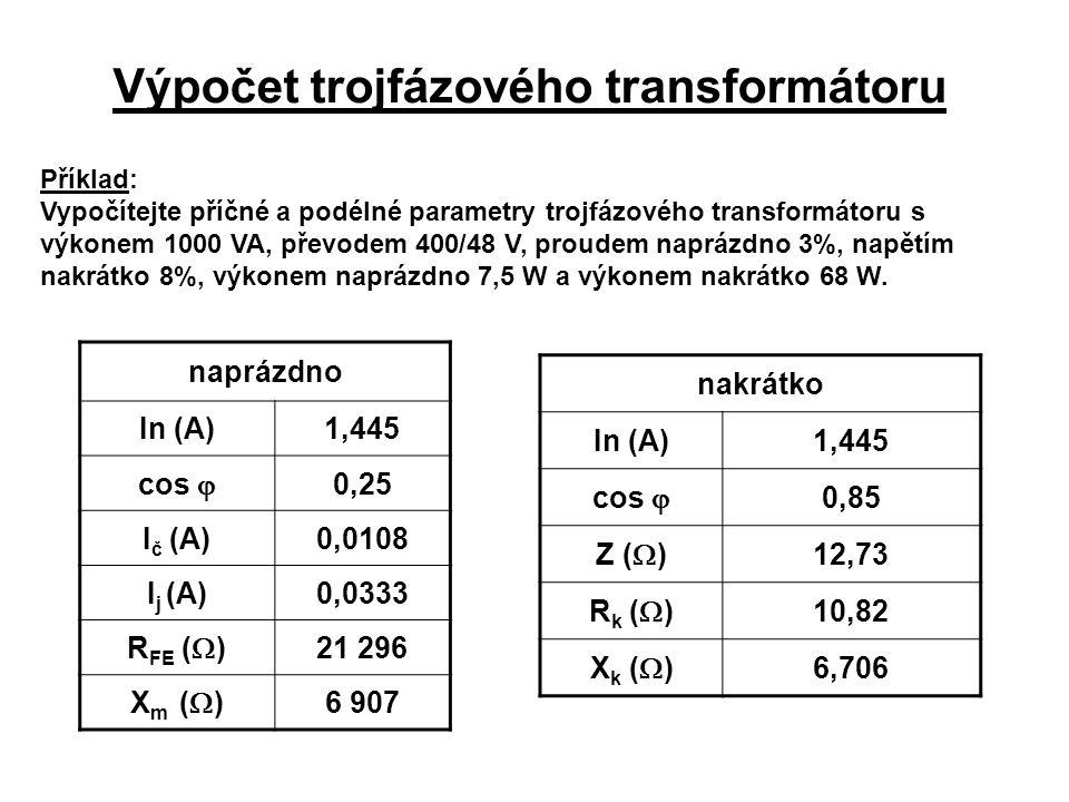 Výpočet trojfázového transformátoru