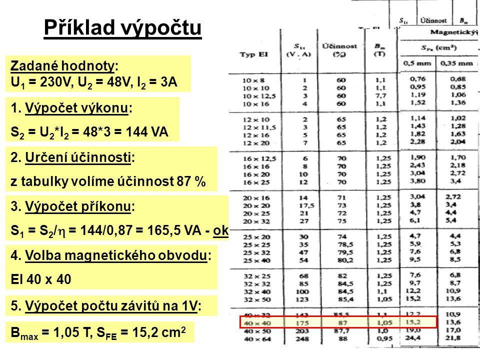 Příklad výpočtu Zadané hodnoty: U1 = 230V, U2 = 48V, I2 = 3A
