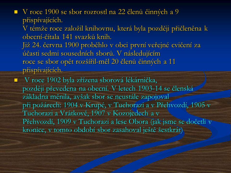 V roce 1900 se sbor rozrostl na 22 členů činných a 9 přispívajících